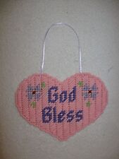 God Bless Pink Heart Door Wall Hanging Plastic Canvas Handmade God Bless Heart