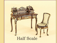 DOLLHOUSE MINIATURE - HALF SCALE 1:24 - Bespaq Anastasia Desk & Chair in Walnut
