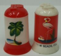 Vintage Palm Beach Florida Red & White Plastic Souvenir Salt & Pepper Shakers