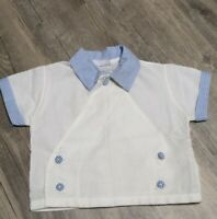 Vintage Baby Cute Togs New Orleans White Blue Checked Jacket Shirt 50s USA