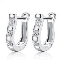 New Style Silver White Gemstones Harp Horse Shoe Earrings Women