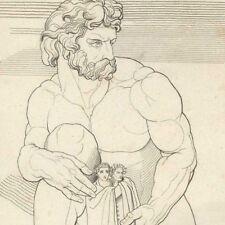 Divine comédie Dante Virgile Le Géant Anthée - John Flaxman Gravure 19e