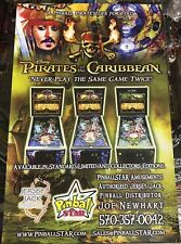 """17"""" X 11"""" AUTOGRAPHED Jersey Jack Pirates Of The Caribbean Pinball Poster!"""