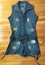Women's NBA Denim Romper, Size 9 Basketball Jean Knicks Lakers Celtics Halloween
