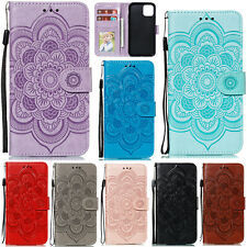 Embossed Patterned Flip PU Leather Wallet Card Pocket Stand Case TPU Cover Lot
