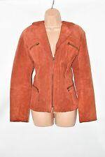 Vintage Orange Leather BONITA Hips Length Zip Women's Blazer Jacket Size L