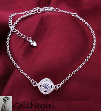 925-Sterling-Silver-Ankle-Bracelet-Womens-Anklet-Adjustable-Chain-Foot-Jewelry