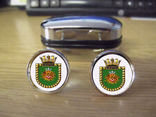 HMS GRAFTON 1934 CUFFLINKS (20MM) ROUND BRASS RHODIUM PLATED WITH STRONG CLASPS