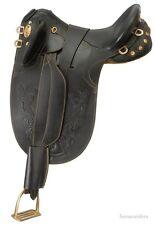 16 Inch Australian Stockpoly Saddle-Black Leather-No Horn-Regular Tree