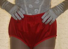 vintage style red silky nylon big full briefs knickers panties ex large