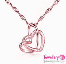 Rose Gold Plated Open Double Heart Pendant Necklace Chain Womens Ladies Gift