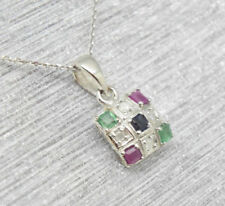 Collares y colgantes de joyería con gemas multicolores zafiro zafiro
