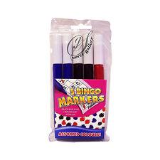 5 Bingo Marker Pens Coloured Set Ticket Dabber Black Red Blue Fun Game Play Gift