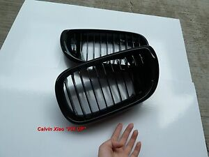 MIT GLOSS BLACK FRONT KIDNEY GRILLE BMW E46 4D 3 SERIES 2002-2004