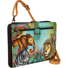 Anuschka Leather Tablet Case in African Adventure - Retired Zebra Lion Elephant