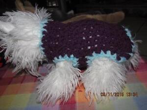 Dog Apparel PURPLE with BABY BLUE TRIM Sweater XXS