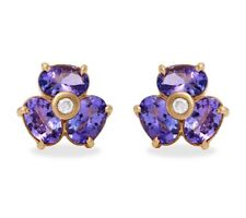 3.10 Carat Natural Tanzanite & Diamond 14K Solid Yellow Gold Stud Earrings