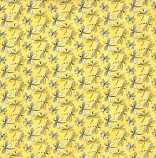 Fabric Traditions - Bugs Dragonfly Toss Yellow - Cotton YARD