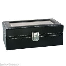 1PC Black Watch Box Four Grids Jewelry Gift Case Jewelry Display 20x11cm