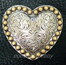 WESTERN HORSE TACK ANTIQUE GOLD HEART BERRY SADDLE CONCHO 1 inch screw back