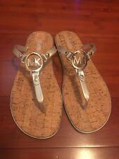 NWT MICHAEL KORS Silver MK Logo Charm Jelly Cork Flip Flop Sandals Size 10