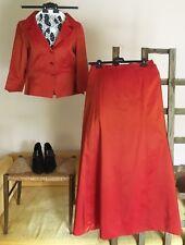 Damiani Abendkleid Robe Ballkleid Gala Kostüm Jacke Rock lang Gr42 L rot 299€ To