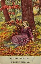 """Waiting for You"" in Kansas City Missouri~Lady Under Tree~1912 Postcard"