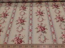 """Tanya Whelan Antique Ticking Rose for Free Spirit 100% Sateen Cotton Fabric 54""""W"""