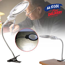 LED-illuminated Desk GO Metal Hose Glass Loupe Clip-on Magnifier Magnifying
