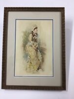 Listed Artist George Hall Neale Watercolor Well Dressed Woman 1884