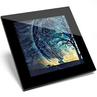 1 x Super Moon Old Tree Painting Art Glass Coaster - Kitchen Student Gift #14104
