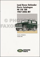 1987-2006 Land Rover Defender Parts Book 90 110 130 Part Catalog Catalogue
