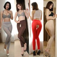 NEW Women See Through Trousers Pants High Elastic Sheer Skinny Ice Silk Leggings
