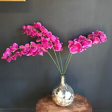 5 Real Touch Hot Pink Artificial Orchid Flowers Stem Realistic Faux Silk Purple