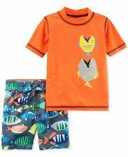 Carter's Boy Toddler 3 Pc Fish Rash Guard Top & Swim Trunks&Cap Set-Sz 2T- Nwt