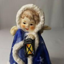Vintage Goebel Nativity Angel Blue Robe Lantern Figurine Porcelain West Germany