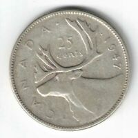 CANADA 1947 25 CENTS QUARTER KING GEORGE VI CANADIAN SILVER COIN