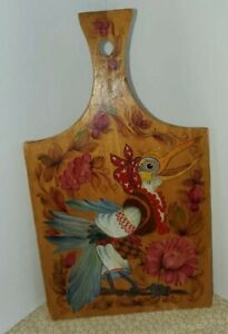 Vintage Cutting Board With Handpainted  Rosemaling