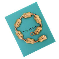 """Authentic Vintage Tiffany & Co. 14K Yellow Gold Shell Link Chain Bracelet 8"""""""