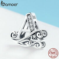 Women CZ Charm S925 Sterling Silver Bead Letter A Fit Bracelet Jewelry