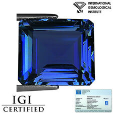 8.62 Ct IGI Certified AA+ Natural Tanzanite Gemstone Bluish Violet Emerald Cut