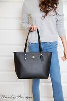 New Coach Crossgrain Leather Zip Top City Tote Shoulder Bag in Black F58846