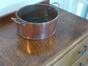 Vintage Copper Pan With Two Brass handles 26cm x 23cm x 11cm