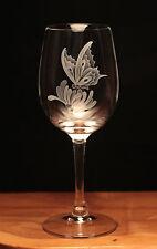 Butterfly Honeysuckle Flower engraved Wine Glass gift present