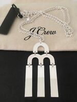 NWT J.Crew Tuning Fork Pendant Chain Silver Necklace