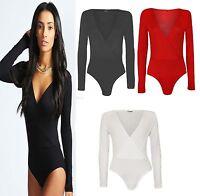 New women Ladies Long Sleeve Wrap Front Stretch Bodysuit Women Top UK Size 8-14