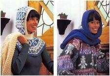Ladies' Hooded Fairisle Insert and Hooded Scarf DK Knitting Pattern 10175