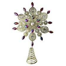 "13.5"" Gold Glitter and Purple Jeweled Snowflake Christmas Tree Topper - Unlit"