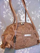 RENATO ANGI ITALIAN ,Crinkled Taupe Leather Shoulder Bag,Handbag,Purse -NWT