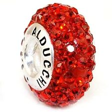 Alducchi Ruby Red Swarovski Crystal 925 Sterling Silver European Charm Bead